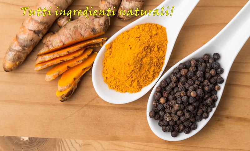Curcuma e pepe ingredienti di Bio curcuma con piperina