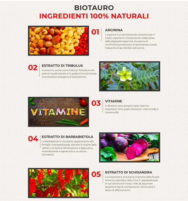 Bio Tauro ingredienti naturali delle pillole