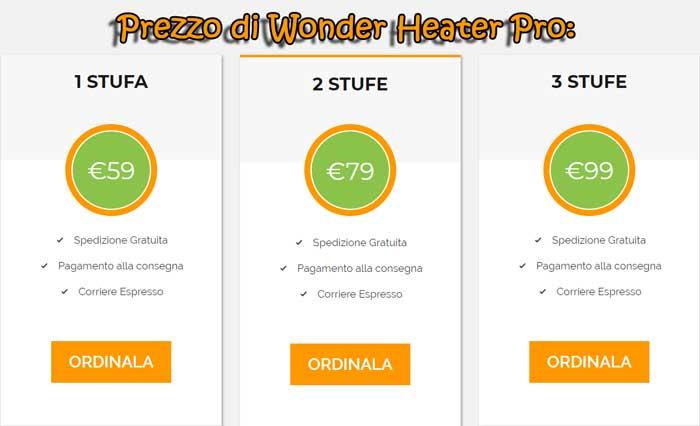Costo della stufa Wonder Heater Pro