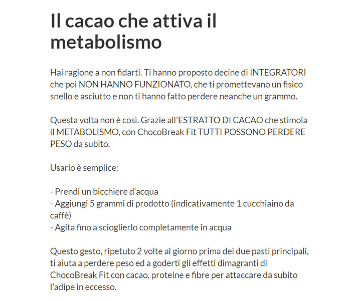 Come funziona Chocobreak fit