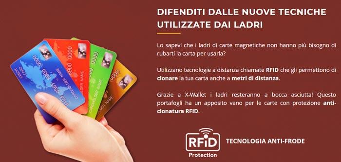 X Wallet portafogli antifrode RFID